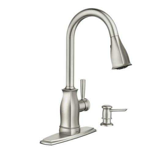 MOEN 87024M Kitchen Faucet with Pullout Spray and Soap Di...