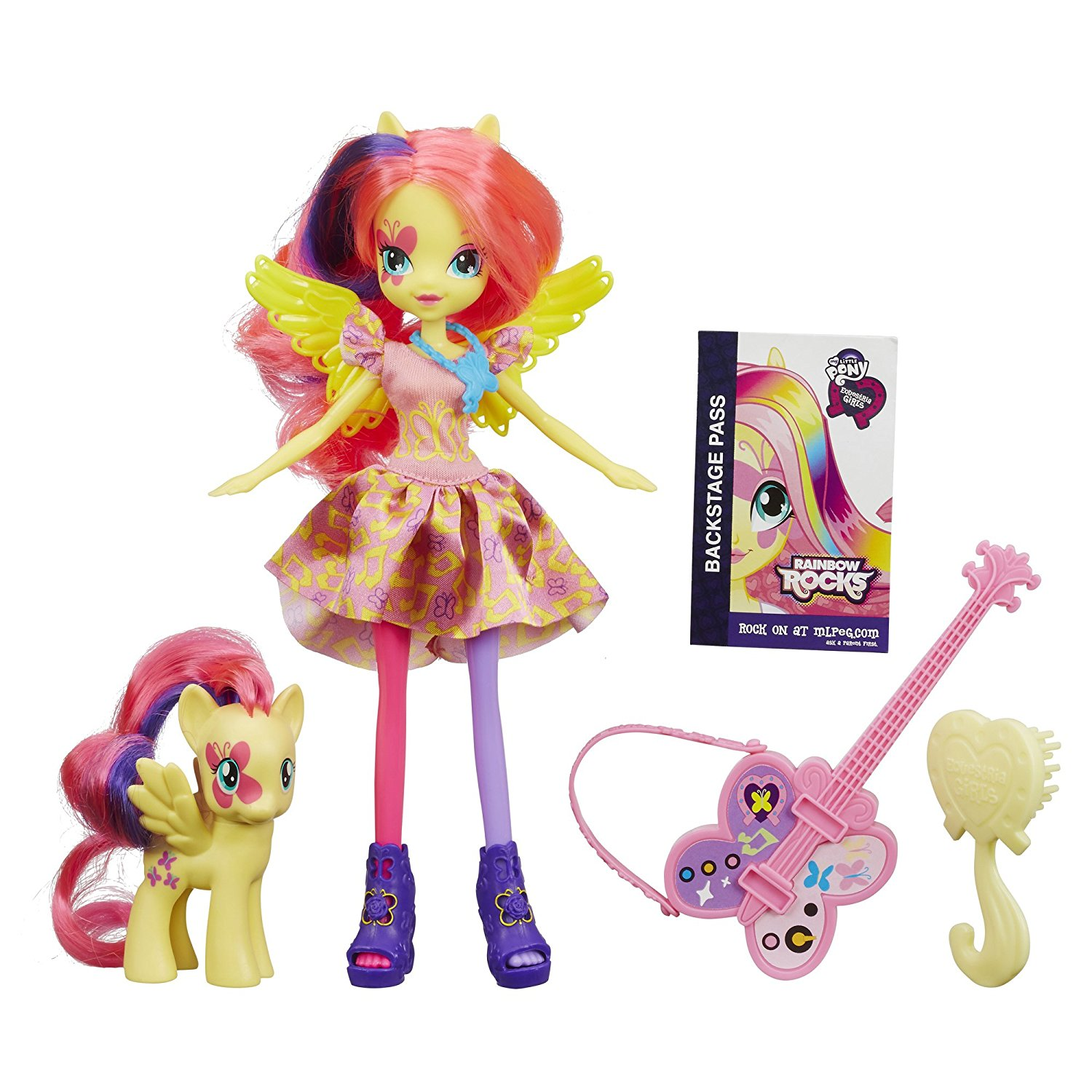 Equestria Girls Fluttershy Doll and Pony Set, Fluttershy Doll and Pony Set includes doll and pony figure By My Little Pony