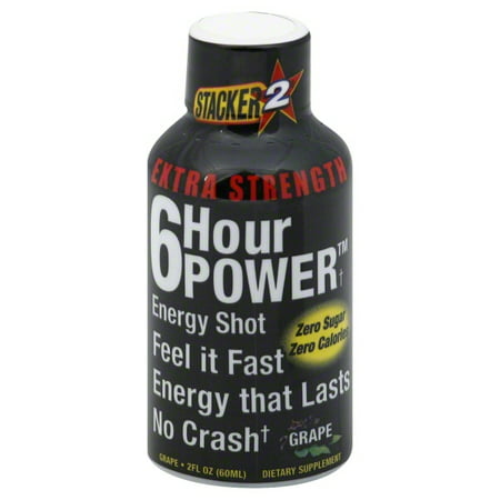 Stacker2 6 Hour Power Extra Strength Grape Energy Shot, 2 Fl. Oz., 2