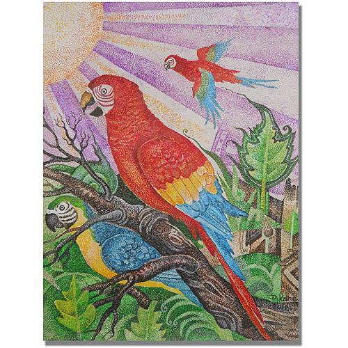 """Trademark Fine Art """"Parrots in Pointillism"""" Canvas Wall Art by Djibrirou Kane"""