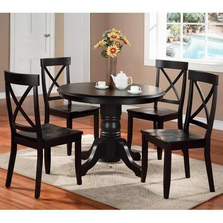 5 Piece Black Pedestal - Home Styles 5 Piece Pedestal Dining Set, Black