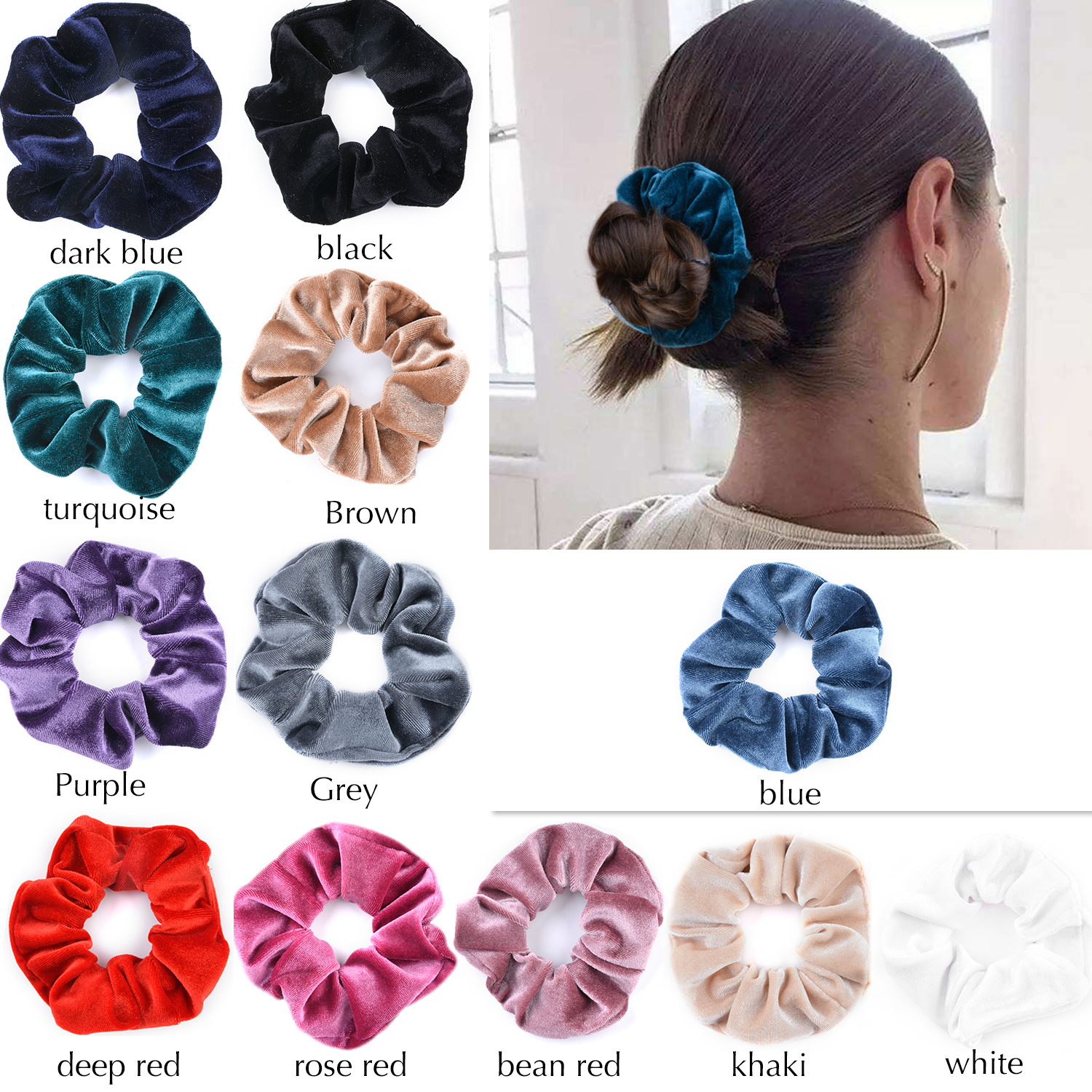12Pcs Hair Scrunchies Set, Aniwon No Damage Traceless Elastic Scrunchies Bobbles Hair Ties Ponytail Holder Accessories for Girls Kids Women