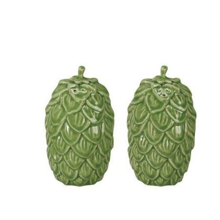 Andrea by Sadek Green Pinecone Salt and Pepper Shaker Set Ceramic Retired and No Longer