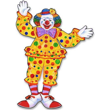 Jointed Circus Clown Cutout - Circus Door Decorations