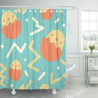 PKNMT Blessings 80'S Styled Easter Pattern Bright Celebrate Circles Confetti Day Bathroom Shower Curtains 60x72 inch