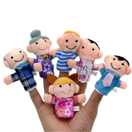6 Pcs/Set Family Members Finger Toy Hand Doll Children Learning Puppets