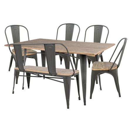 Oregon 6-Piece Industrial-Farmhouse Dining Set in Grey and Brown by  LumiSource