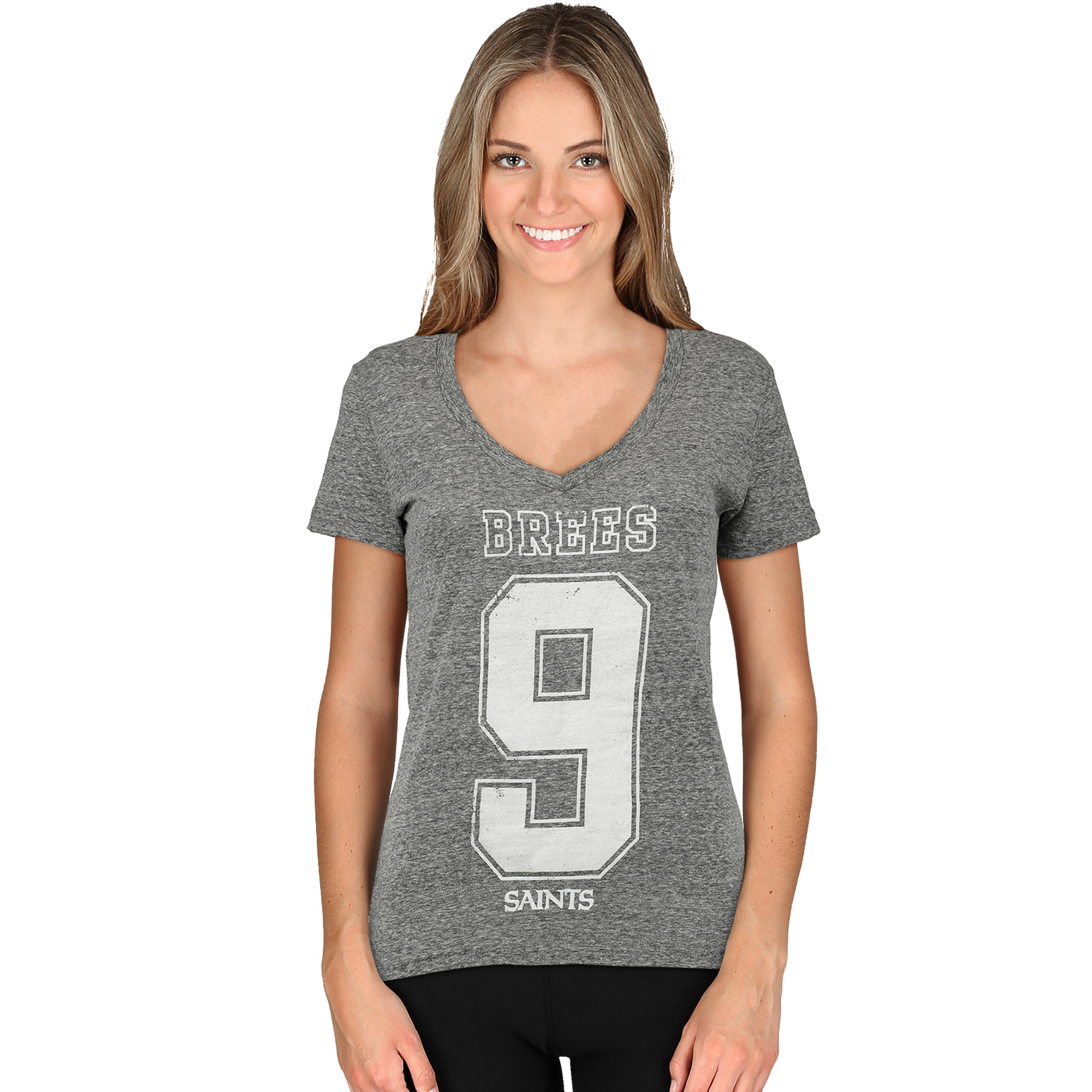 Drew Brees New Orleans Saints Majestic Women's Change of Possession Name & Number T-Shirt - Heather Gray