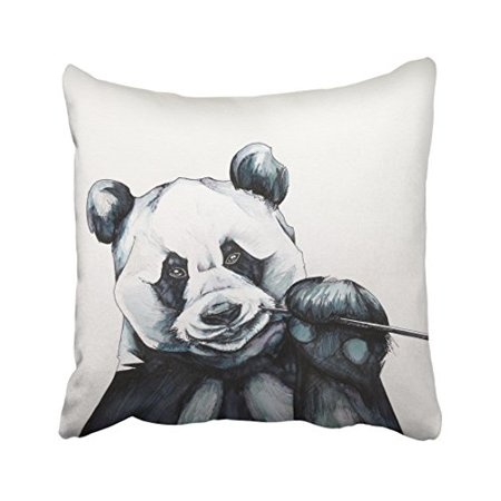 WinHome Sketch Cute Panda Black And White Eating Bamboo Decorative Pillowcases With Hidden Zipper Decor Cushion Covers Two Sides 20x20 -