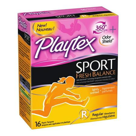 Playtex Sport Fresh Balance Tampons with Odor Shield Technology, Regular Scented, 16 Ea (Glad Odor Shield)