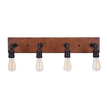 Toltec Lighting Portland 4 Light Bath Bar Shown In Dark Granite and Wood Finish With Antique Bulb -