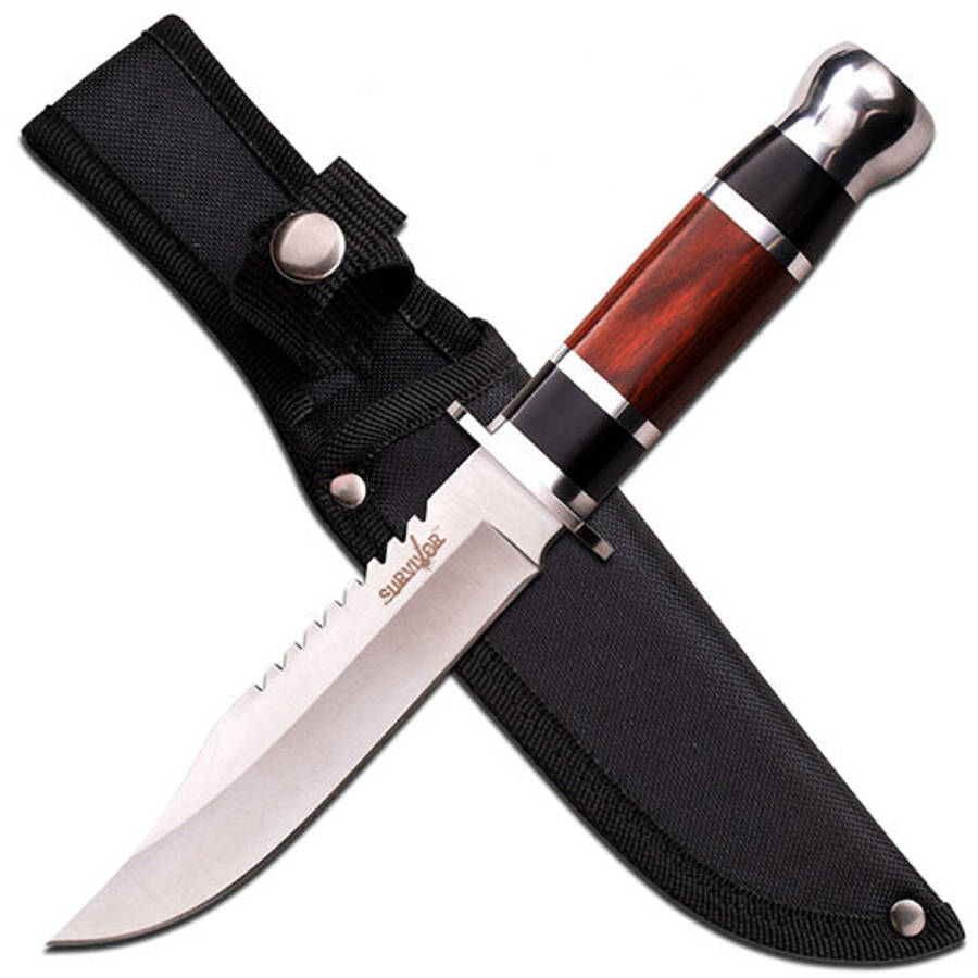 "Survivor Fixed-Blade Knife with 6"" Blade and Wood Handle"