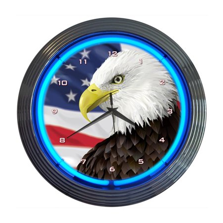 Eagle with american flag neon