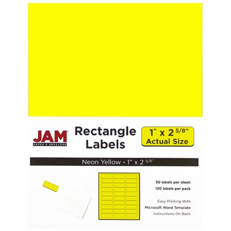 "JAM PAPER Shipping Address Labels - Standard Mailing - Small - 25.4 x 66.7 mm (1"" x 2 5/8"") - Neon Yellow - 120/Pack - image 1 of 4"