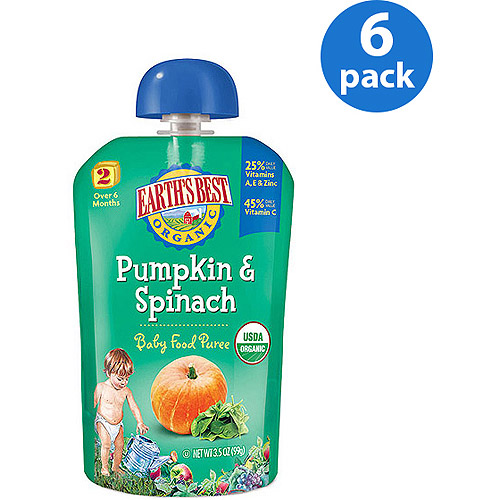 Earth's Best Puree Organic Pumpkin & Spinach 3.5oz - Stage 2 Baby Food (Pack of 6)