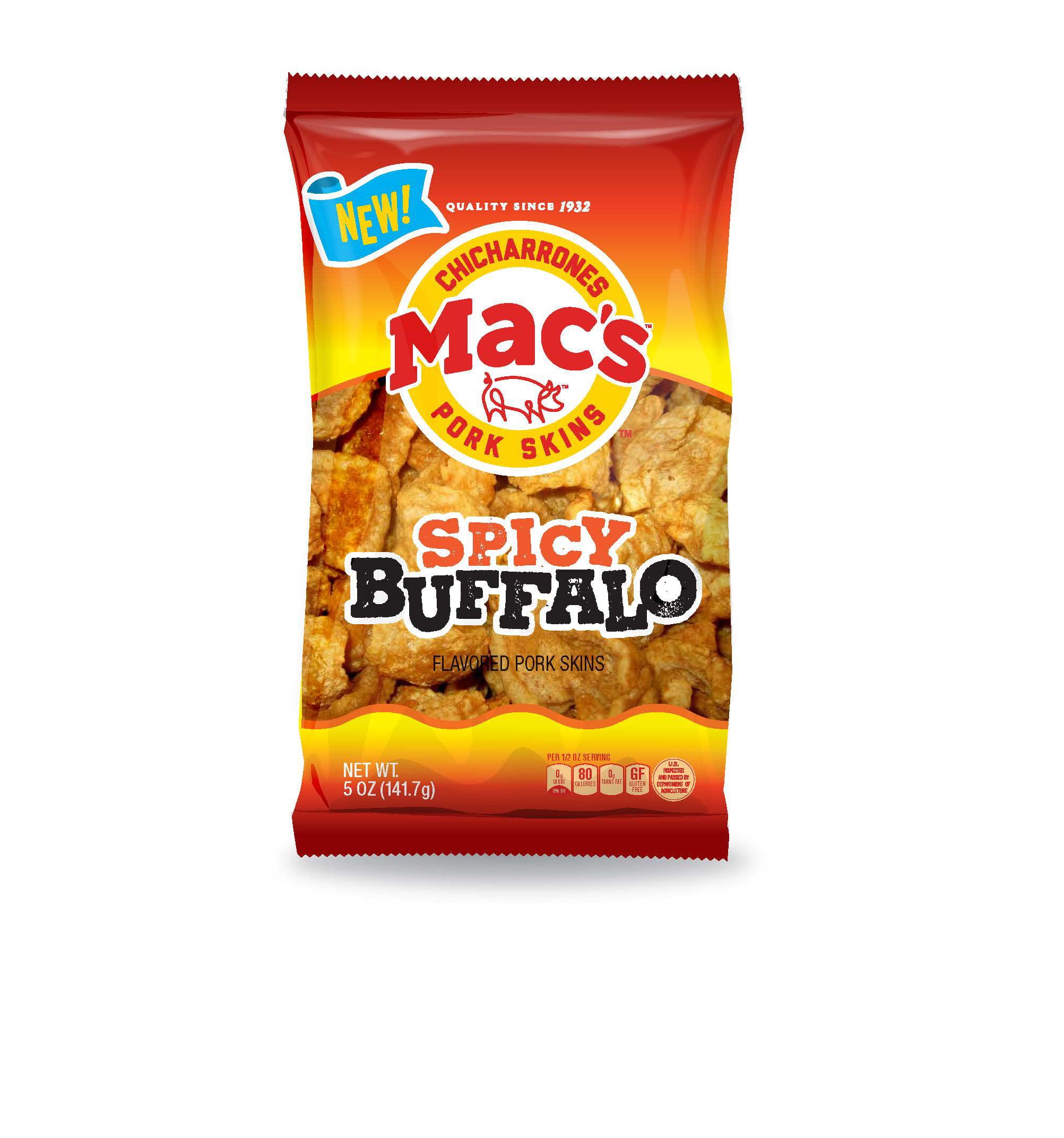Mac's Spicy Buffalo Flavored Pork Skin, 5 Oz.