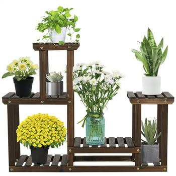 Easyfashion 4 Tier Wood Plant Flower Display Stand