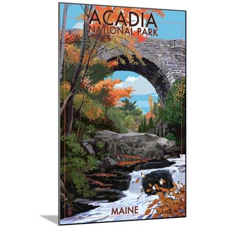 Acadia National Park, Maine - Stone Bridge Wood Mounted Print Wall Art By Lantern Press