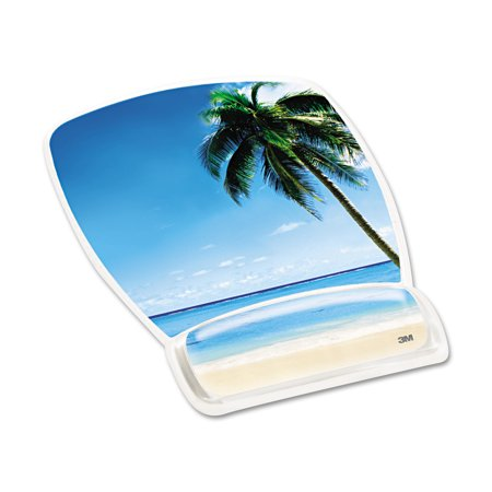 - 3M Fun Design Clear Gel Mouse Pad Wrist Rest, 6 4/5 x 8 3/5 x 3/4, Beach Design
