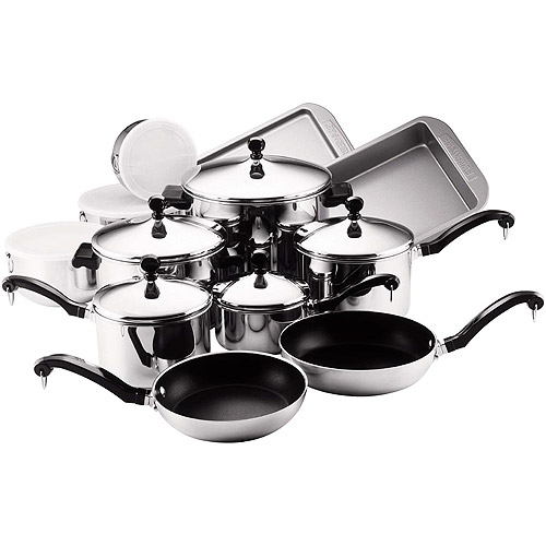 Farberware Classic Stainless Steel Nonstick 17-Piece Cookware Set by Farberware
