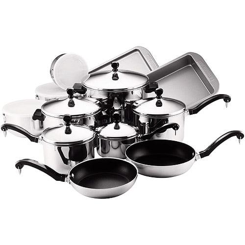 Farberware Classic Stainless Steel  Nonstick 17-Piece Cookware Set
