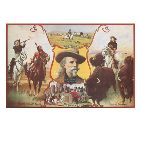 Buffalo Bill with Indians and Bison Print Wall Art