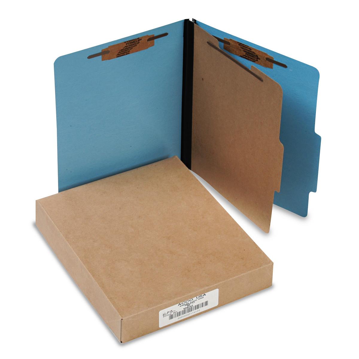ACCO ColorLife PRESSTEX Classification Folders, Letter, 4-Section, Light Blue, 10/Box