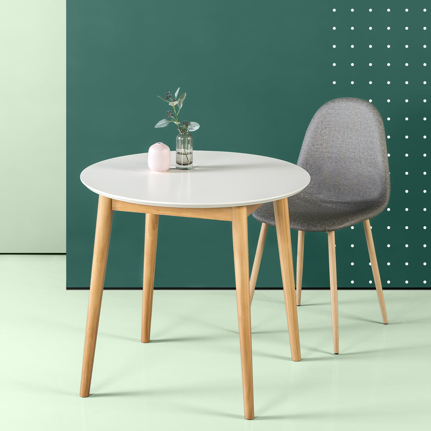 Zinus Mid-century Round Small Dining Table, White