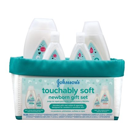 Johnson's Touchably Soft Newborn Baby Gift Set For New Parents, 5 item