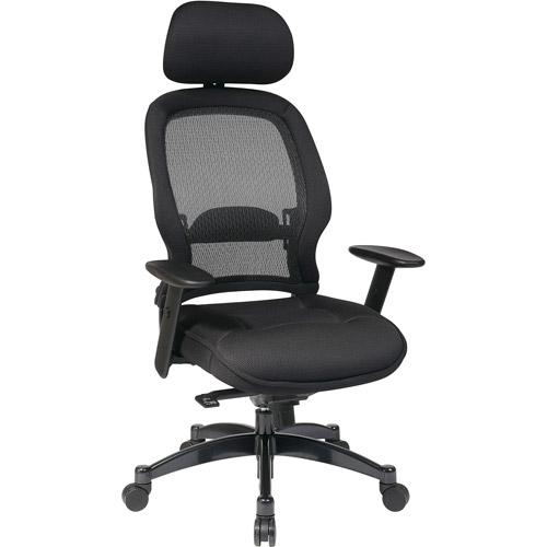 Office Star Space Seating Professional Deluxe Mesh Back Office Chair with Headrest, Black