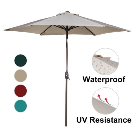 Abba Patio 9-Ft Market Outdoor Aluminum Table Patio Umbrella with Push Button Tilt and Crank,