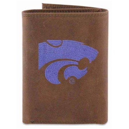 ZeppelinProducts KSU-IWE2-CRZH-LBR Kansas State Trifold Embroidered Leather Wallet - image 1 de 1