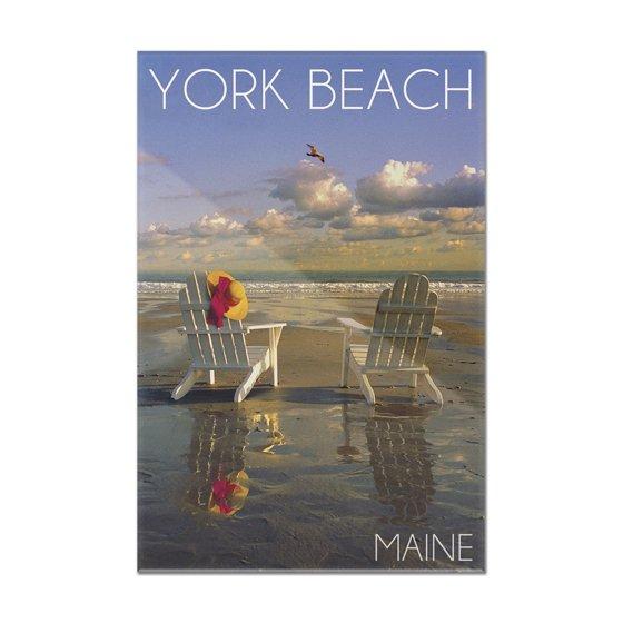 York Beach Maine Adirondack Chairs Lantern Press Photography 8x12 Acrylic