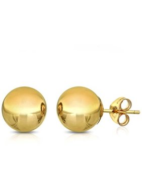 14K Solid Gold Classic Ball Stud Earrings (4 - 8mm)