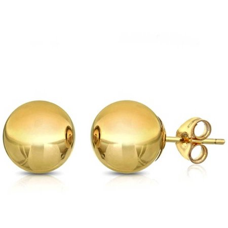 Yellow Gold Metal Fashion Earrings (14K Solid Yellow Gold Classic Ball Stud Earrings (4 - 8mm) )