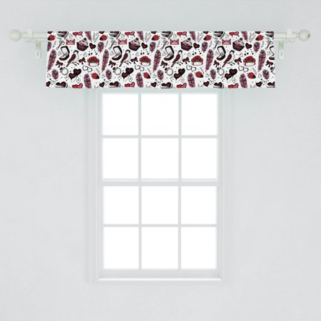Image of Romantic Window Valance, Sketchy Graphic Image of Feathers Keys Birds Gift Boxes Ring and Cupcakes, Curtain Valance for Kitchen Bedroom Decor with Rod Pocket, by Ambesonne