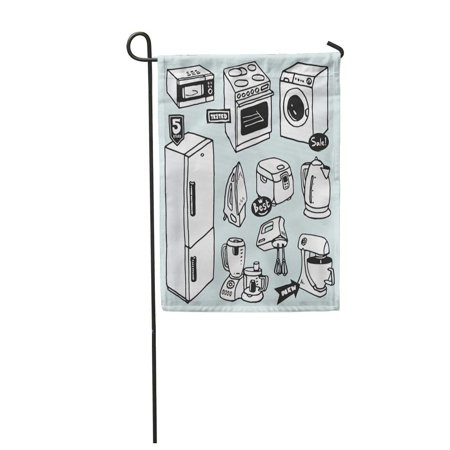 JSDART Cartoon Household Appliances for Cooking and Cleaning Electric Teapot Stove Garden Flag Decorative Flag House Banner 12x18 inch - image 1 of 1