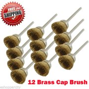"""MTP ® Pack of 12  Rotary Brass Cup Brush Dremel  443 442 428 8220-2/28 395 4000 1/8"""" Shank Clean Polish Tool Jewelry Stone Hobby"""