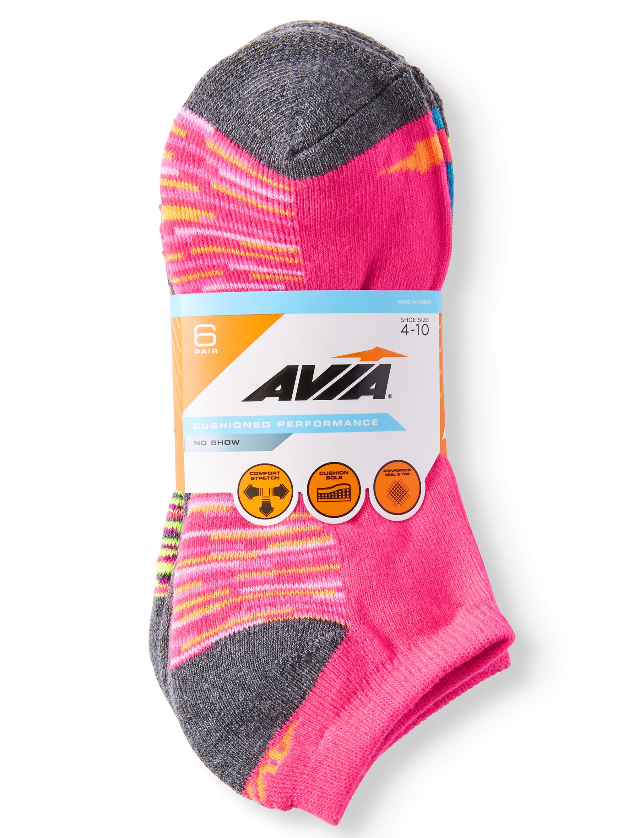 Ladies' Cushioned Performance No Show Socks, 6 Pack
