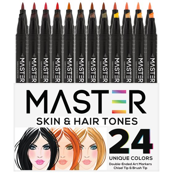 24 Color Master Markers Skin Hair Tones Dual Tip Set Double Ended
