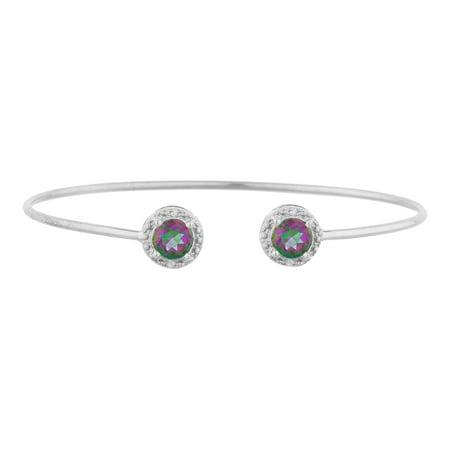2 Ct Natural Mystic Topaz & Diamond Round Bangle Bracelet .925 Sterling Silver