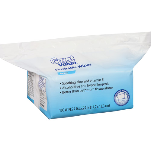 Great Value Flushable Wipes Refill, 100 sheets