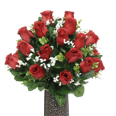 Red Rose Silk Flower Bouquet with Stay-In-The-Vase® Design Flower - Silk Red Roses