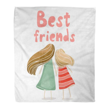 ASHLEIGH Throw Blanket Warm Cozy Print Flannel Two Best Friends Girls Holding Hands About Friendship White Comfortable Soft for Bed Sofa and Couch 58x80