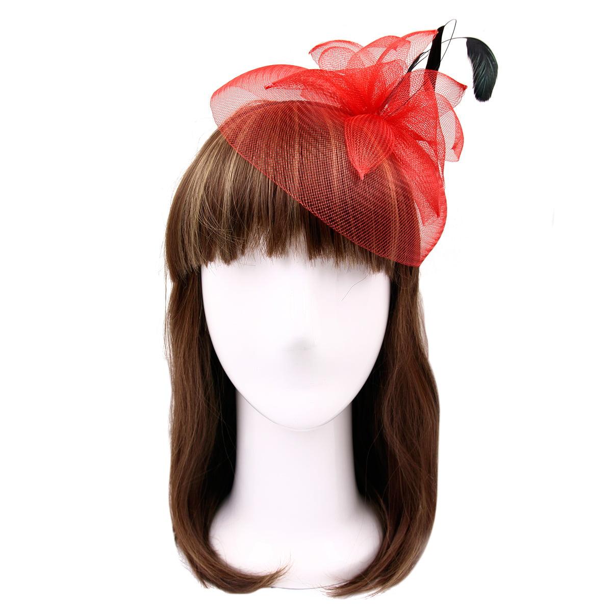 Elegant 2-Way Flower Veil & Feather Fascinator with Clip & Headband