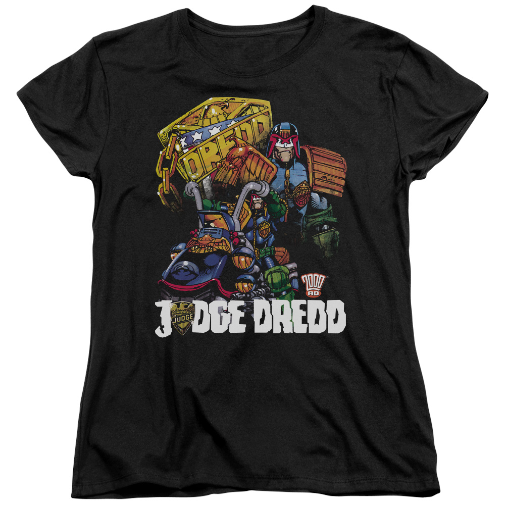 Judge Dredd/Bike And Badge   S/S Women's Tee   Black     Jd112