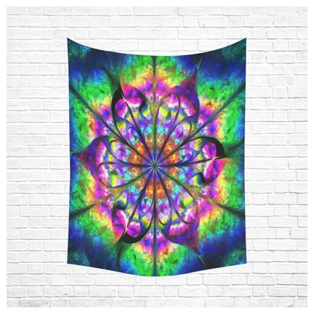 PHFZK Wall Art Home Decor, Abstract Psychedelic Flower Mandala in Rainbow Colors Creative Fractal Design Tapestry Wall Hanging 60 X 80 Inches