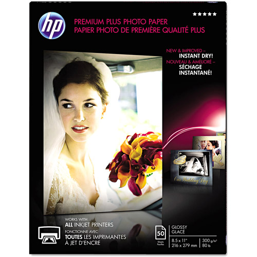 "HP Premium Plus 80-lb Photo Paper, 8-1/2"" x 11"", Glossy, 50 Sheets"