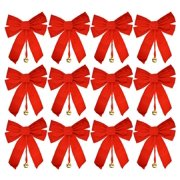 "15"" Large Red Velvet Christmas Bows (12 Pack)  - 10"" x 15"" with Metal Bell"
