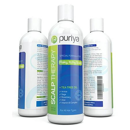 Puriya Natural Dandruff Shampoo (16oz) with Potent Tea Tree, Vitamin & More. Combats itchy, Flaky & Dry Scalp. (Flaky Scalp)